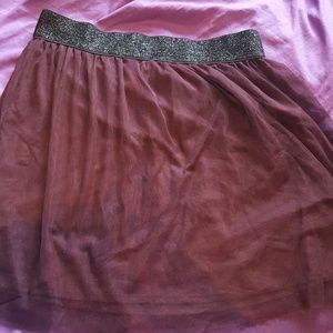 Maroon layered mini skirt
